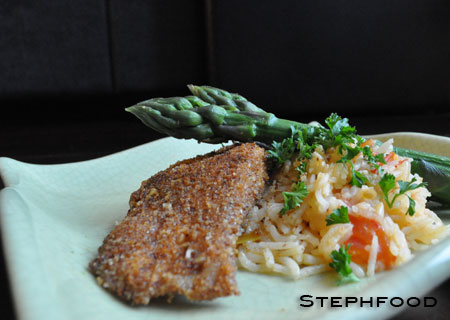 Crusted Fish and Rice Pilaf with Asparagus