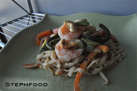 Rice Noodle Salad with Thai-style Cashew sauce and Shrimp