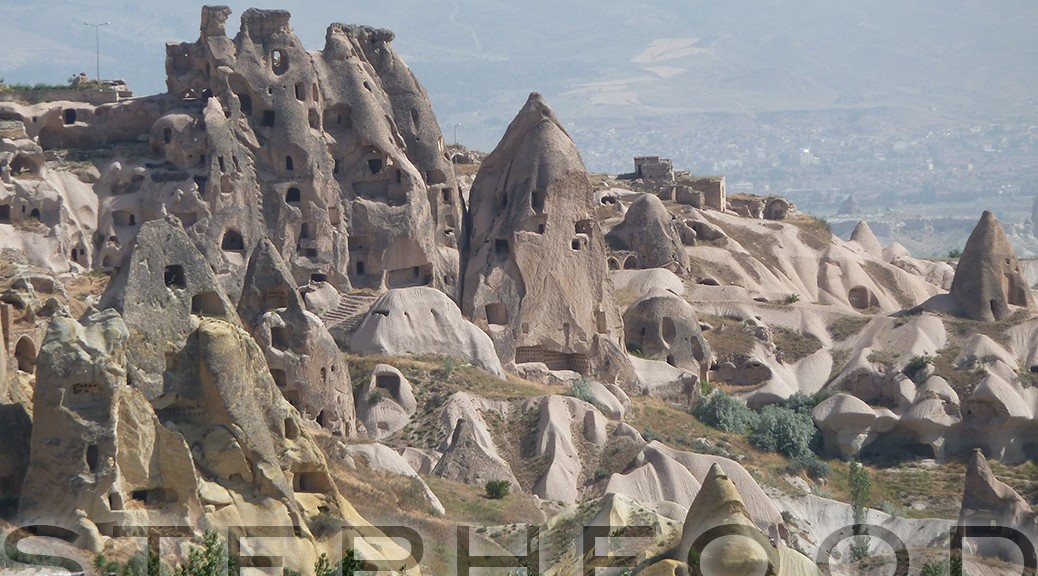 Beautiful range of cave dwellings in Cappadocia, Turkey.