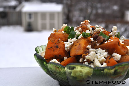 Roasted Butternut Squash with Pecans and Blue Cheese