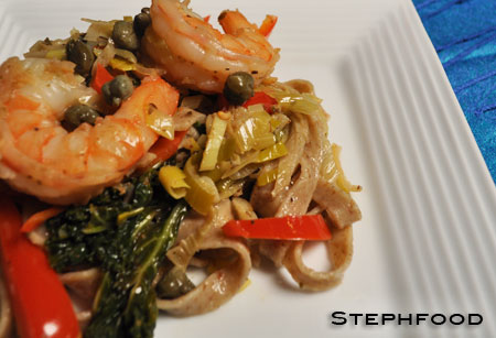 Red Fife Pasta, with Shrimp and Wine Sauce - close