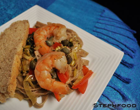 Red Fife Pasta, with Shrimp and Wine Sauce