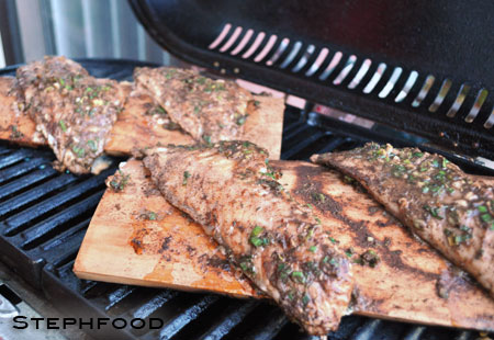 Jerk Fish - grilling on planks
