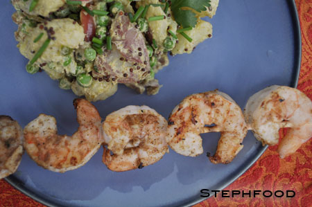 Aloo Gobi Salad with Masala Shrimp Skewer
