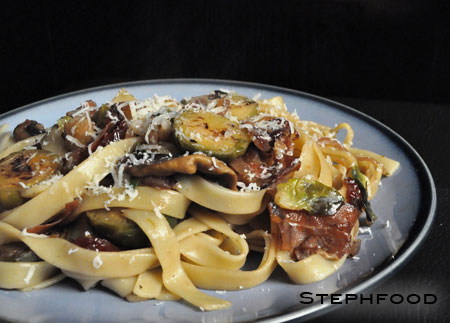 Fettuccine with Brussels Sprouts, Cranberries, and Caramelized Onions ...