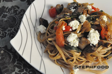 Portabello Linguine with Goat Cheese and Caramelized Onions