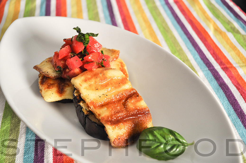 Grilled Eggplant and Haloumi Stacks
