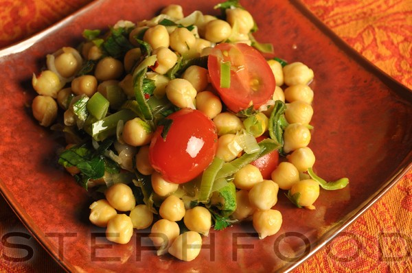 Warm Chickpea Salad with Tomatoes and Parsley