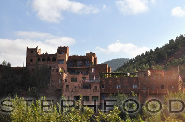 Beautiful red buildings in the Oureka Valley, Morocco