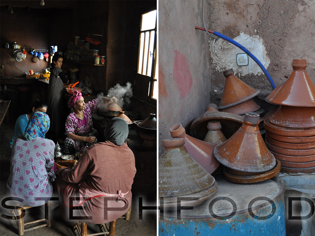 The women prepare a meal. / Tagines