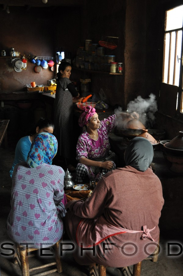 The women prepare a meal.